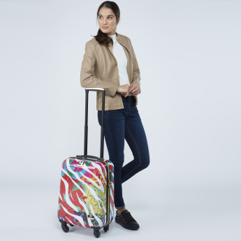 Mia Toro Printed Hard Case Trolley Bag with Combination Lock