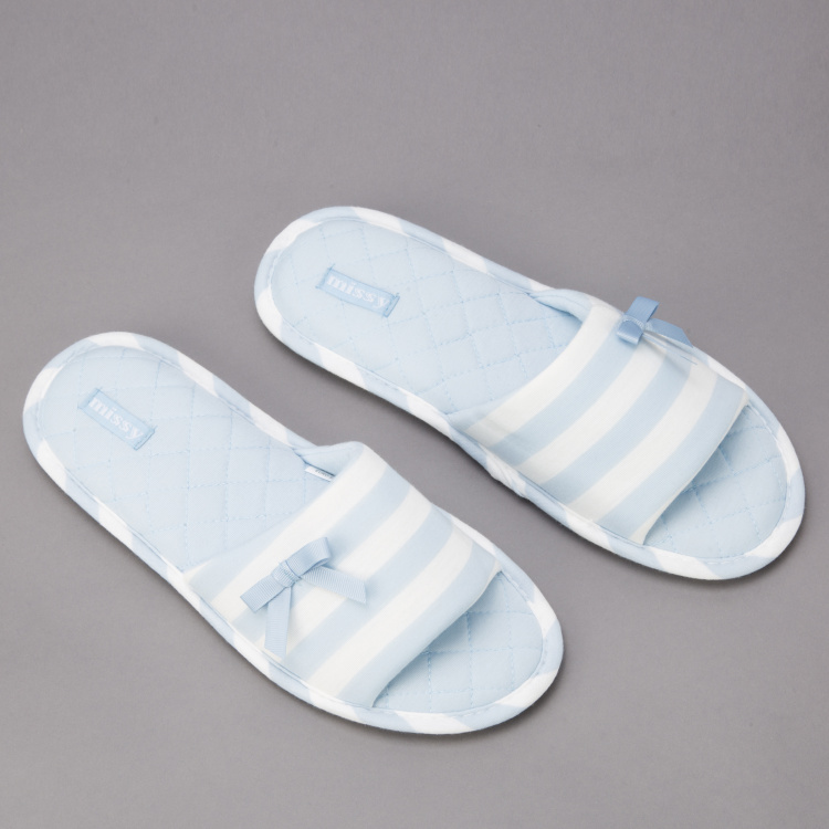 Missy Striped Slides with Bow Detail