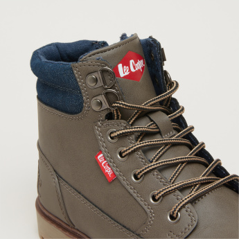 Lee Cooper High Top Lace-Up Shoes with Denim Detail