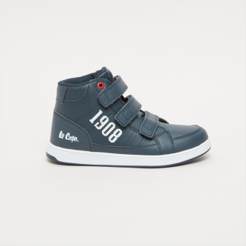 Lee Cooper Printed High-Top Shoes with Hook and Loop Closure