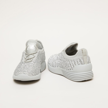 Kappa Textured Sneakers with Lace Detail