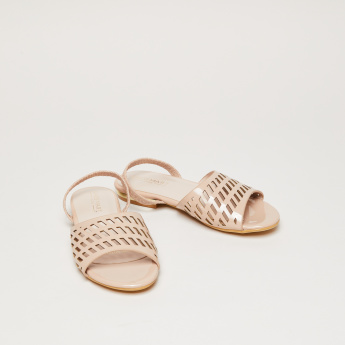 Laser Cut Detail Slingback Sandals