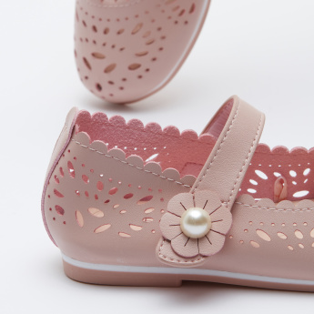 Mary Jane Shoes with Cut Out Detail and Hook and Loop Closure