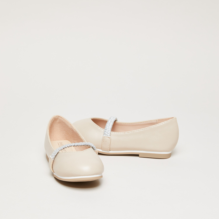 Slip-On Ballerina Shoes with Glitter Elasticised Band