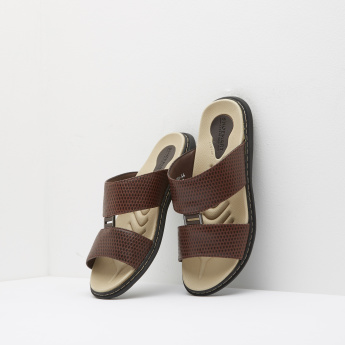 Textured Arabic Sandals with Buckle Accent and Slip-On Closure