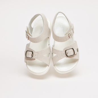 Glitter Sandals with Ankle Strap and Pin Buckle Closure
