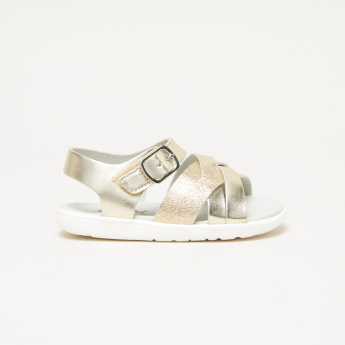 Juniors Cross Strap Sandals with Hook and Loop Closure