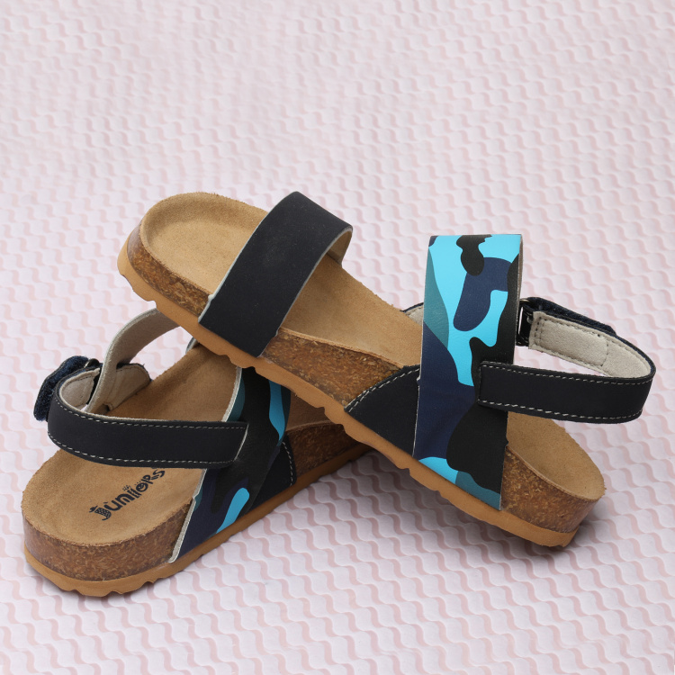 Juniors Printed Sandals with Hook and Loop Closure