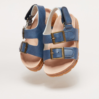 Ankle Strap Sandals with Buckle Accent and Hook and Loop Closure