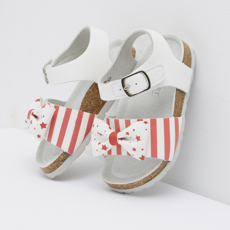 Striped Ankle Strap Sandals with Bow Applique