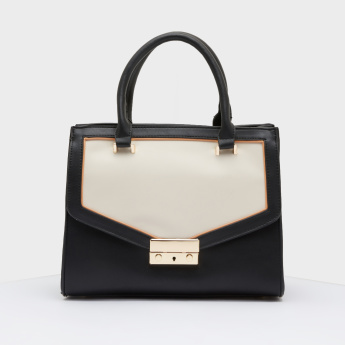 Celeste Colour Block Tote Bag with Zip Closure