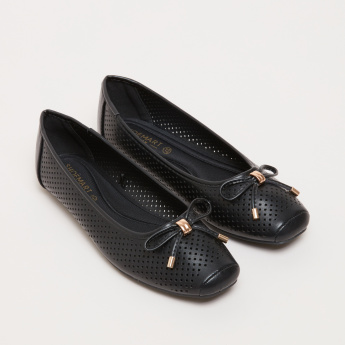 Laser Cut Detail Slip-On Ballerina Shoes with Bow Detail