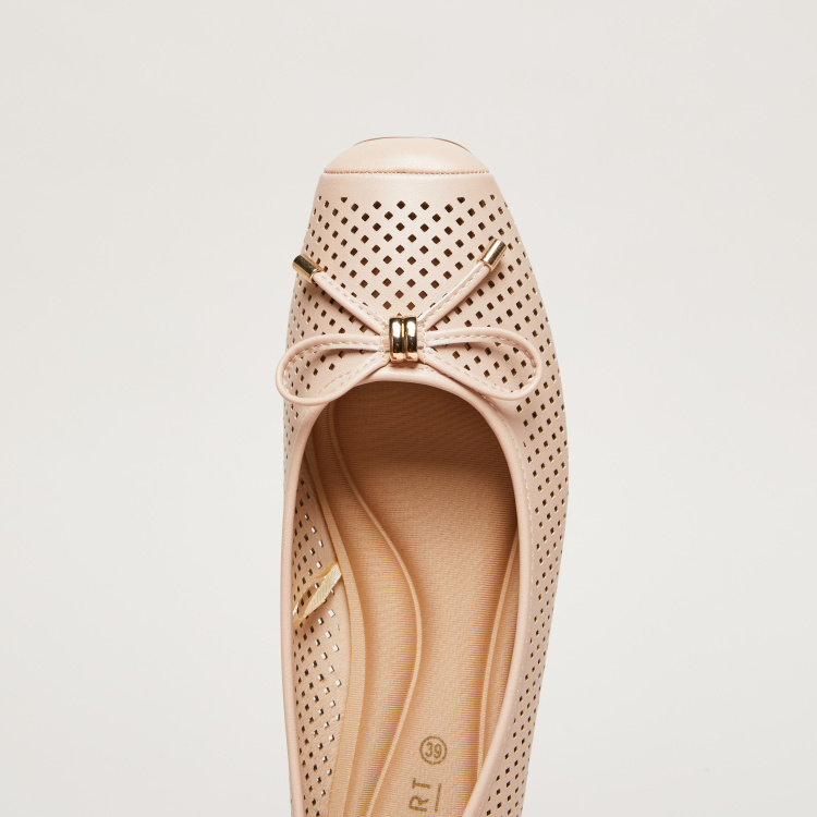 Laser Cut Detail Square Toe Ballerinas with Bow Detail