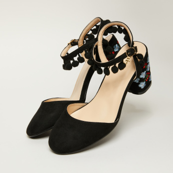 Missy Embroidered Sandals with Pom-Pom Detail and Buckle Closure