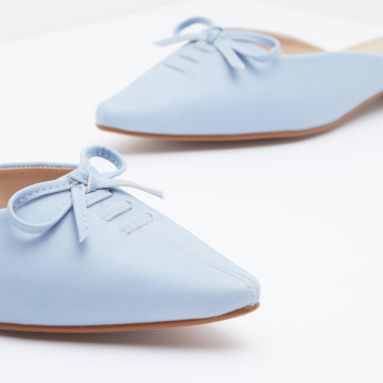 Pointed-Toe Mules with Bow Detail