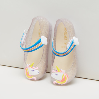 Unicorn Detail Glitter Shoes with Rainbow Straps