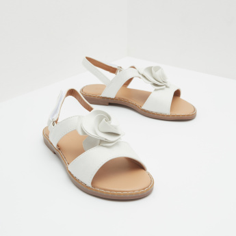 Ankle Strap Sandals with Hook and Loop Closure and Floral Accent